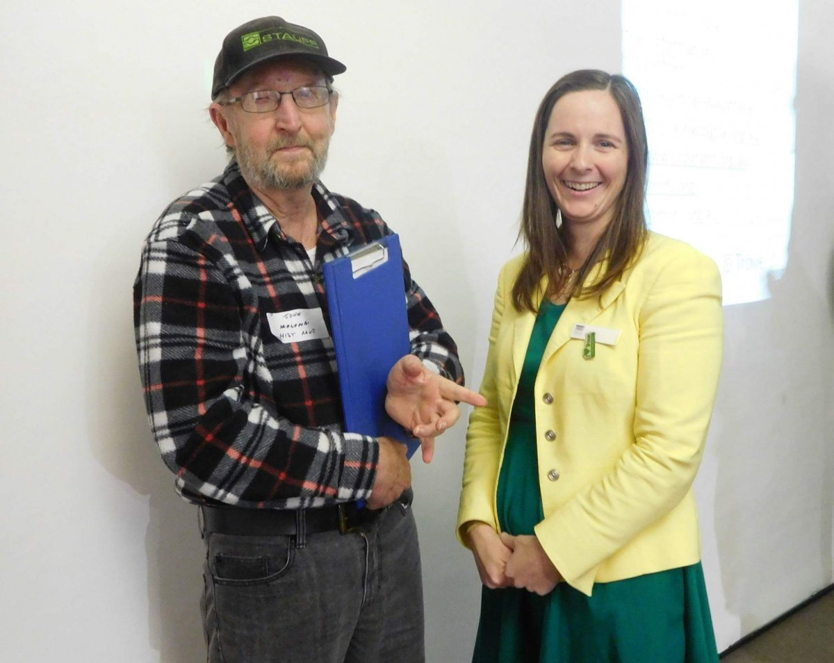 This is a picture of John Pocknall from the Molong Historical Society with Julia Hickey, Assistant DirectorTrove data Discovery and Delivery, at the Orange Roadshow event at Central West Libraries, Orange on 4 May.