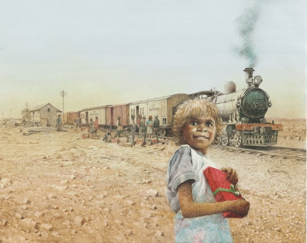 Illustration by Robert Ingpen of Kathleen and the train