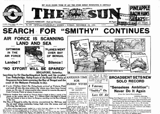 Newspaper front page about Charles Kingsford Smith