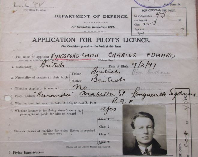Charles Kingsford Smith pilot licence application