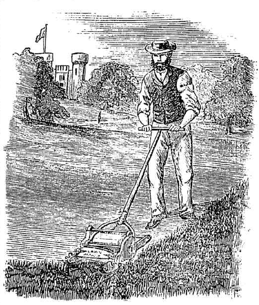 Sketch of man using old-fashioned lawn mower