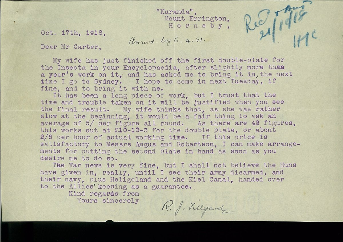 letter from Robin Tillyard