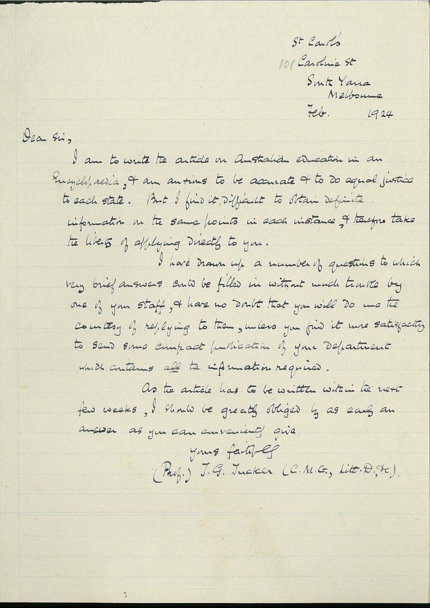 Letter from T.G. Tucker