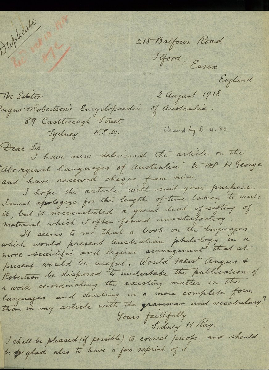 Letter from S.H. Ray