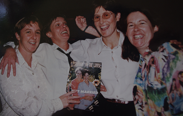 Lesbians on the Loose launches its 100th issue in 1998. Lindy Patterson, Barbara Farrelly, Frances Rand, Christine Rand