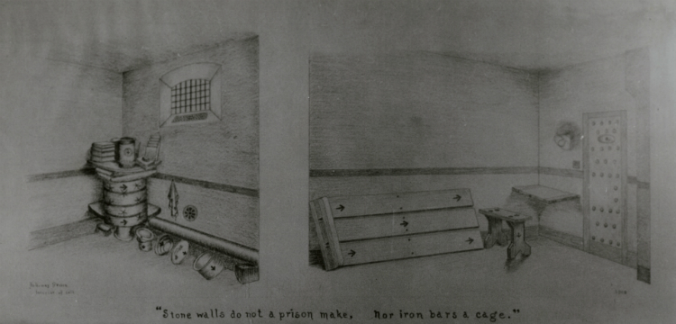 "Sketch of Louisa Cullen's prison cell in Holloway Prison with caption ""Stone walls do not a prison make, nor iron bars a cage."""