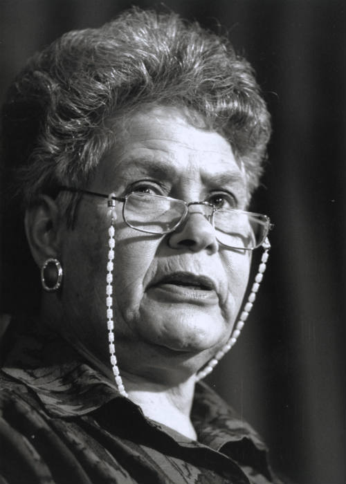 Portrait of Lois (Lowitja) O'Donoghue addressing the National Press Club, Canberra, 1992