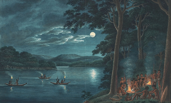 Joseph Lycett's Fishing by Torchlight ... 1817