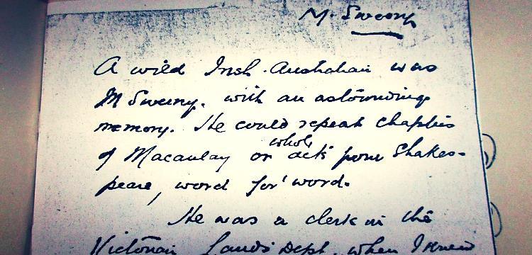 Note written by E.J. Brady