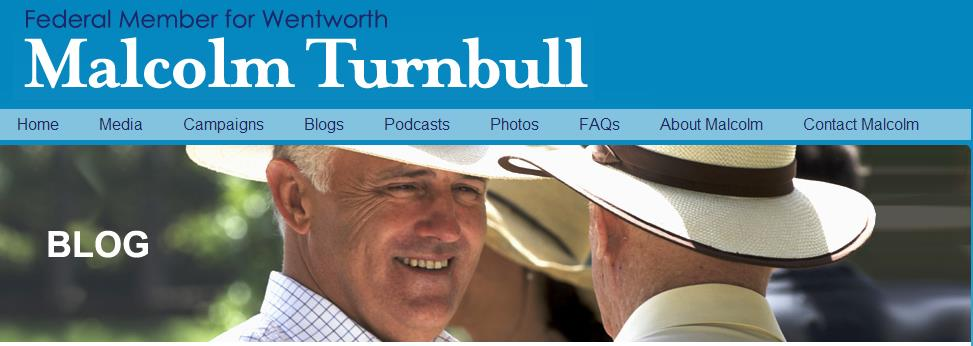 Malcolm Turnbull website blog page