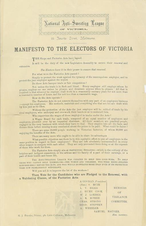 Manifesto of the National Anti-Sweating League of Victoria