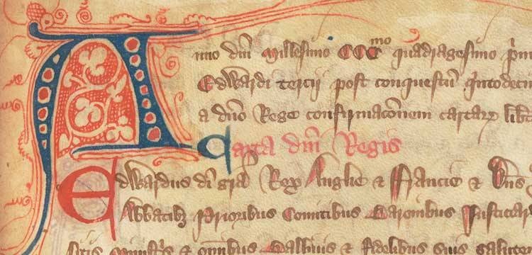 Extract from the Chertsey Cartulary