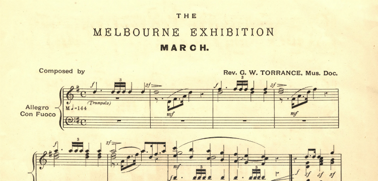 Sheet music for 'The Melbourne Exhibition march""
