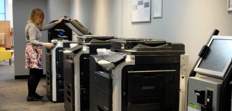 Lady using photocopier in Main Reading Room