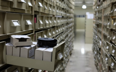 Microfilm drawers in the Library's stack areas