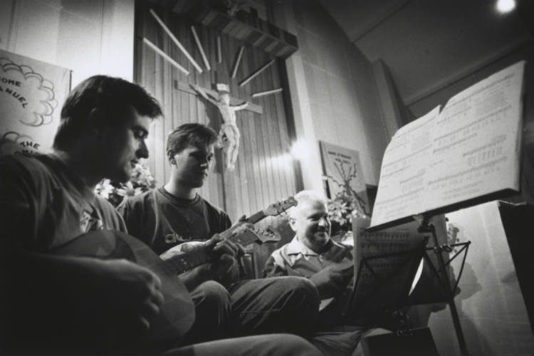 Music practice for Christmas Midnight Mass in Croatian language at St. Patrick's Catholic Church in Braddon, 1996