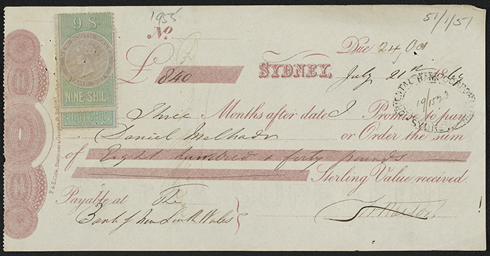Promissory Note for Eight Hundred and Forty Pounds Sterling