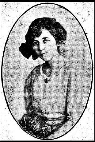 Black-and-white photographic portrait of Mirrie Hill, aged 26, in an oval frame.
