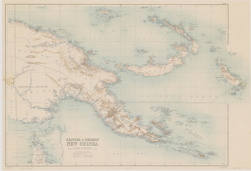 Map of British and German New Guinea in 1906