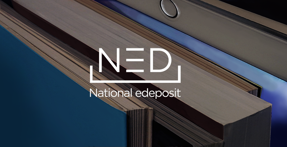 NED National edeposit logo on image of books and an ereader