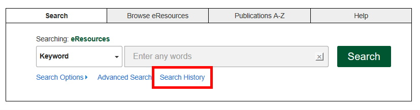 Search history link in the eResources