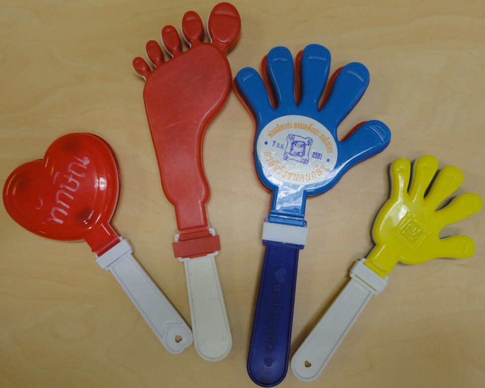 clappers in the shape of hands