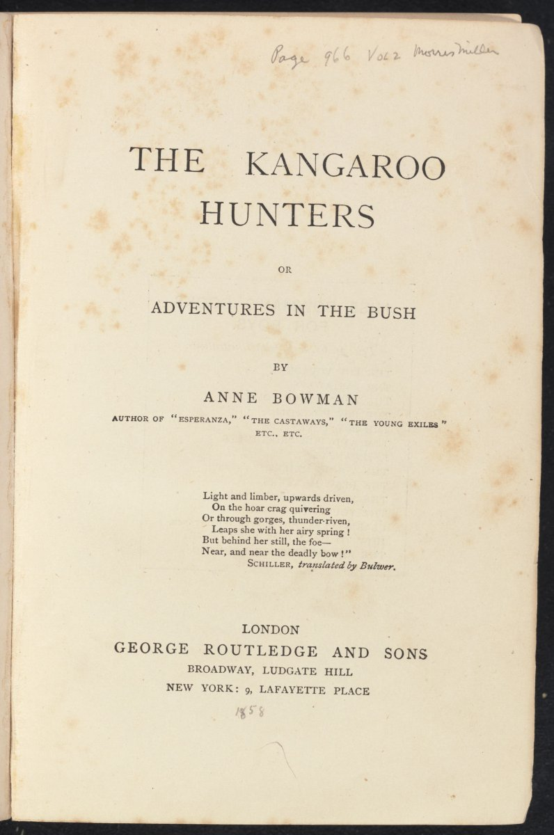 Title page of The kangaroo hunters