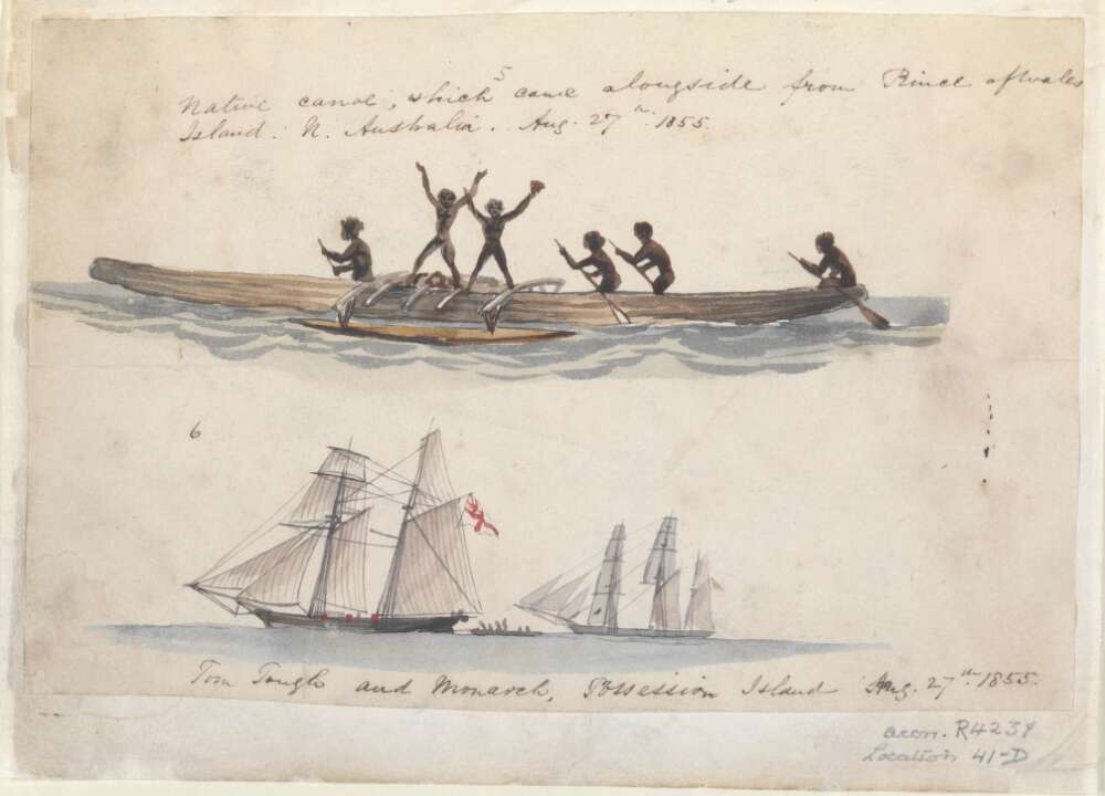 Native canoe, which came alongside from Prince of Wales Island, N[orth] Australia, Aug. 27th, 1855; Tom Tough and Monarch, Possession Island, Aug. 27th 1855