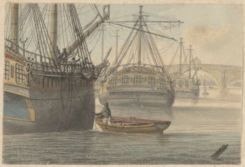 Painting of two ships on the river Thames