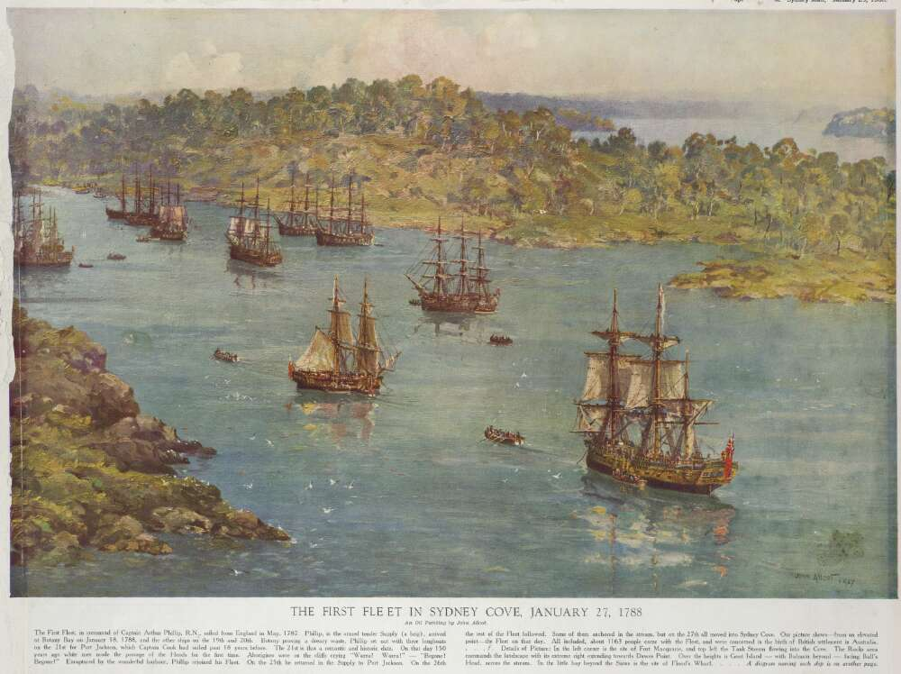 Image of the First Fleet in Sydney Cove