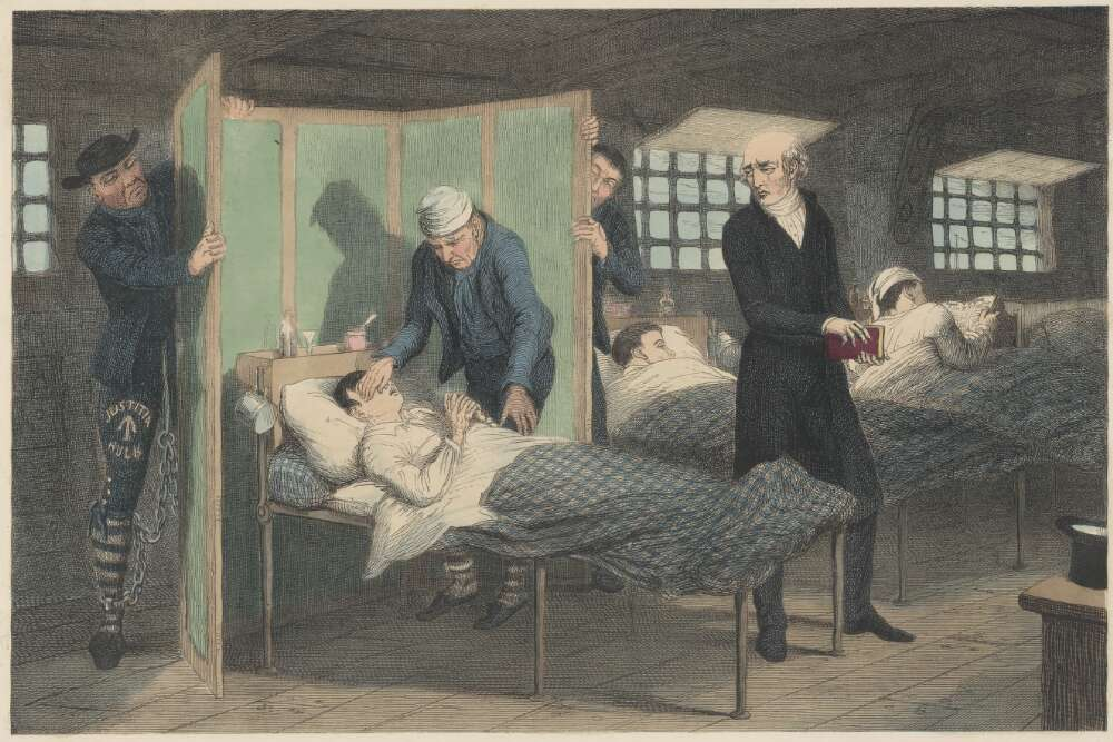 Physician standing next to convict on a bed in the prison hulk Justitia
