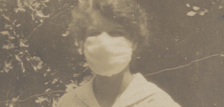 M.P.B.C. wearing a flu mask during the flu epidemic, February, 1919