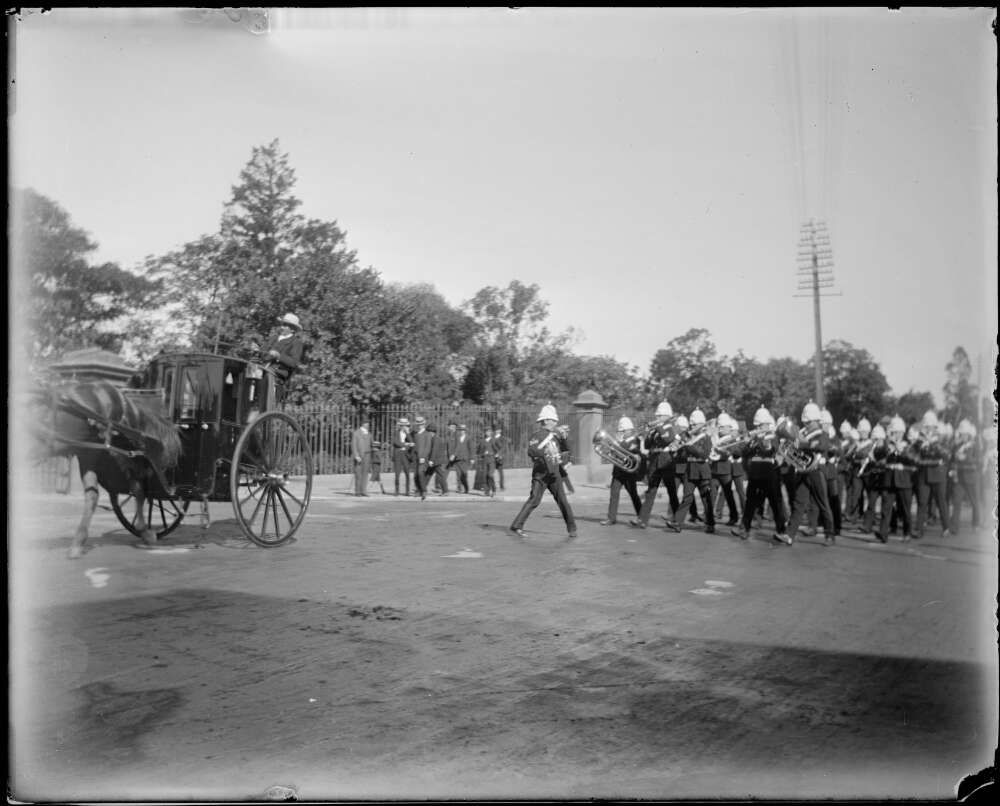 A marching military band, Gundagai, New South Wales