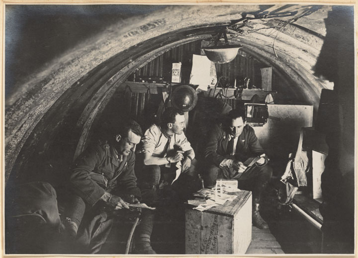 Major H. Morrris and Lieutenant Blake in 105th Battery Headquarters Dugout