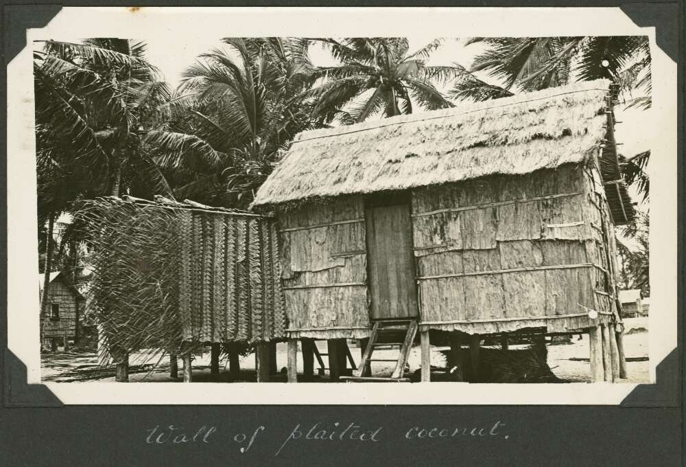 A hut wall constructed of plaited leaves from coconut palms, Badu Island, Queensland, ca. 1928