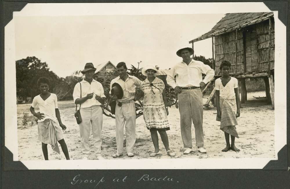 Mattie Yonge and other expedition members, Badu Island, Queensland, ca. 1928