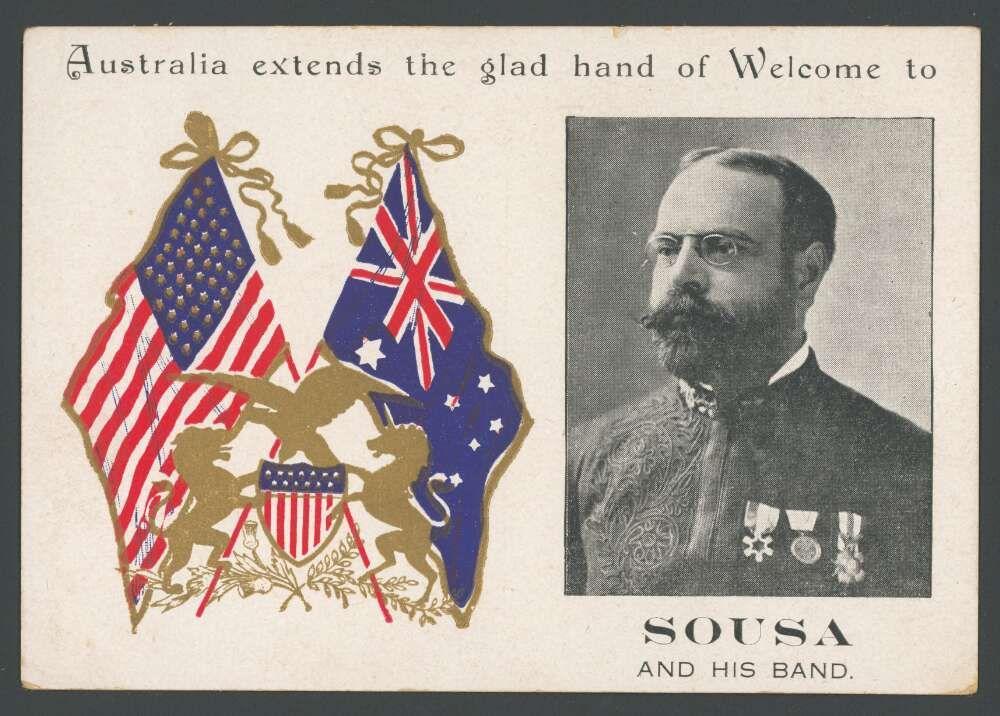 Formal card issued in acknowledgement of Sousa's Australian visit