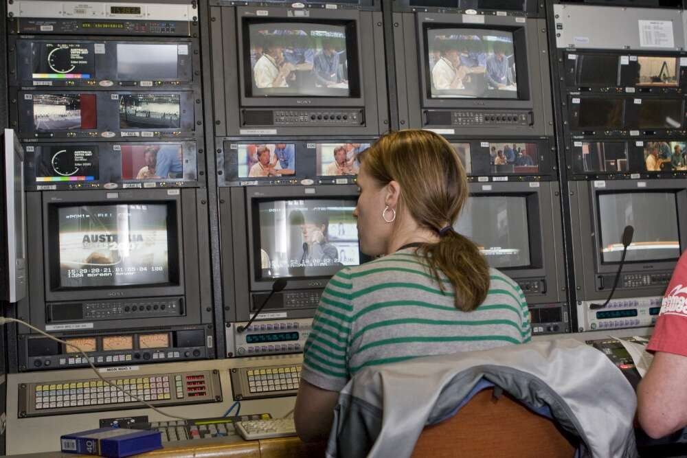 Monitors in the ABC TV outside broadcast van for the Australian Federal Elections, Canberra, 23 November 2007