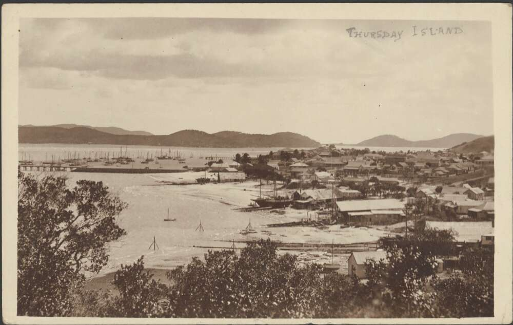 View of the town and the pearling fleet in the harbour, with Prince of Wales Island on the left and Friday Island on the right], Thursday Island, [ca. 1917-1920]