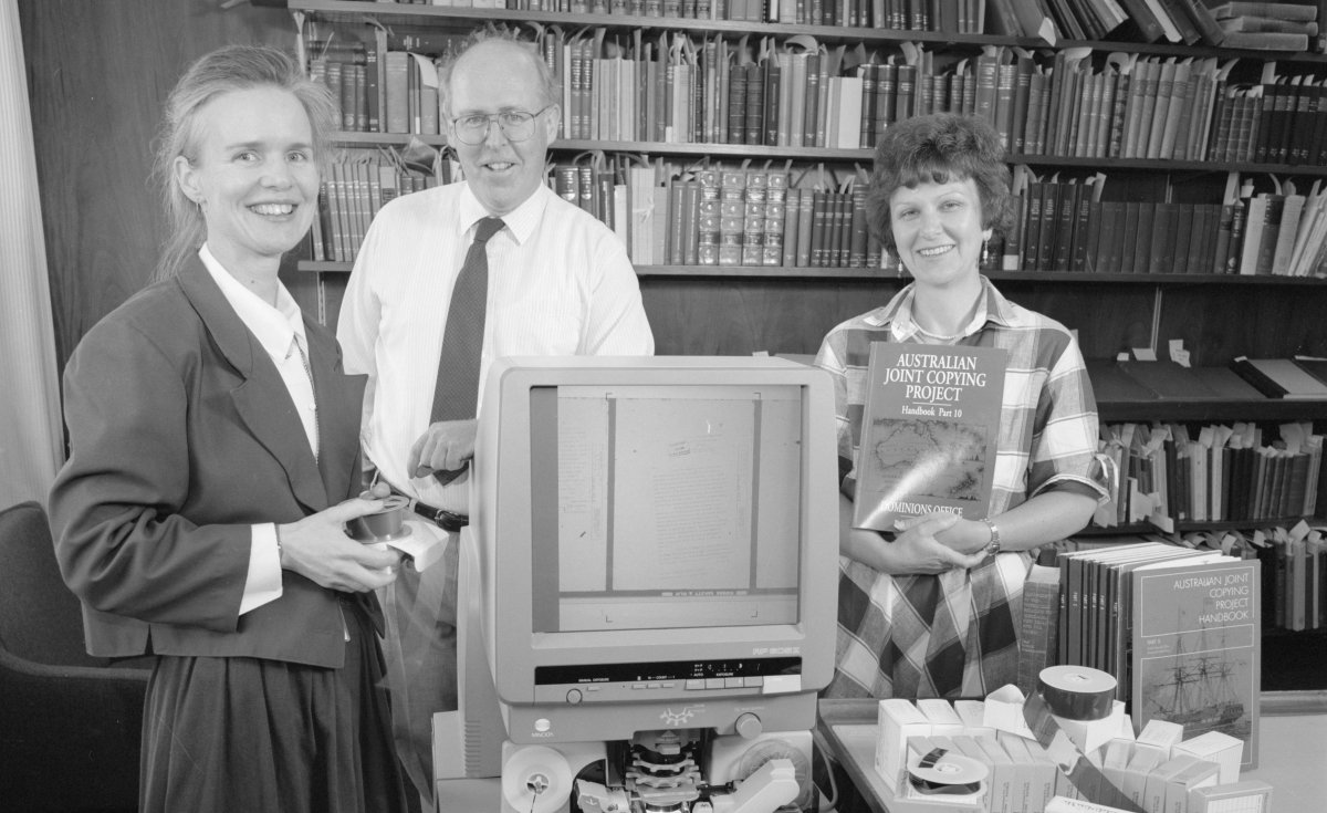 Original AJCP Team with Microfilm Reader
