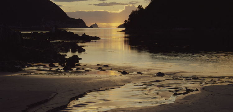 Peter Dombrovskis photo of Sunset, Bramble Cove, west coast, Tasmania, 1993