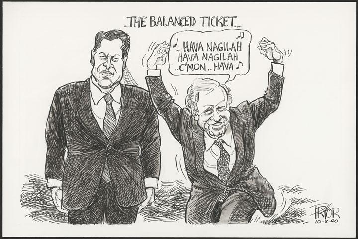 Cartoon of President George W. Bush Celebrating against Al Gore, 2000