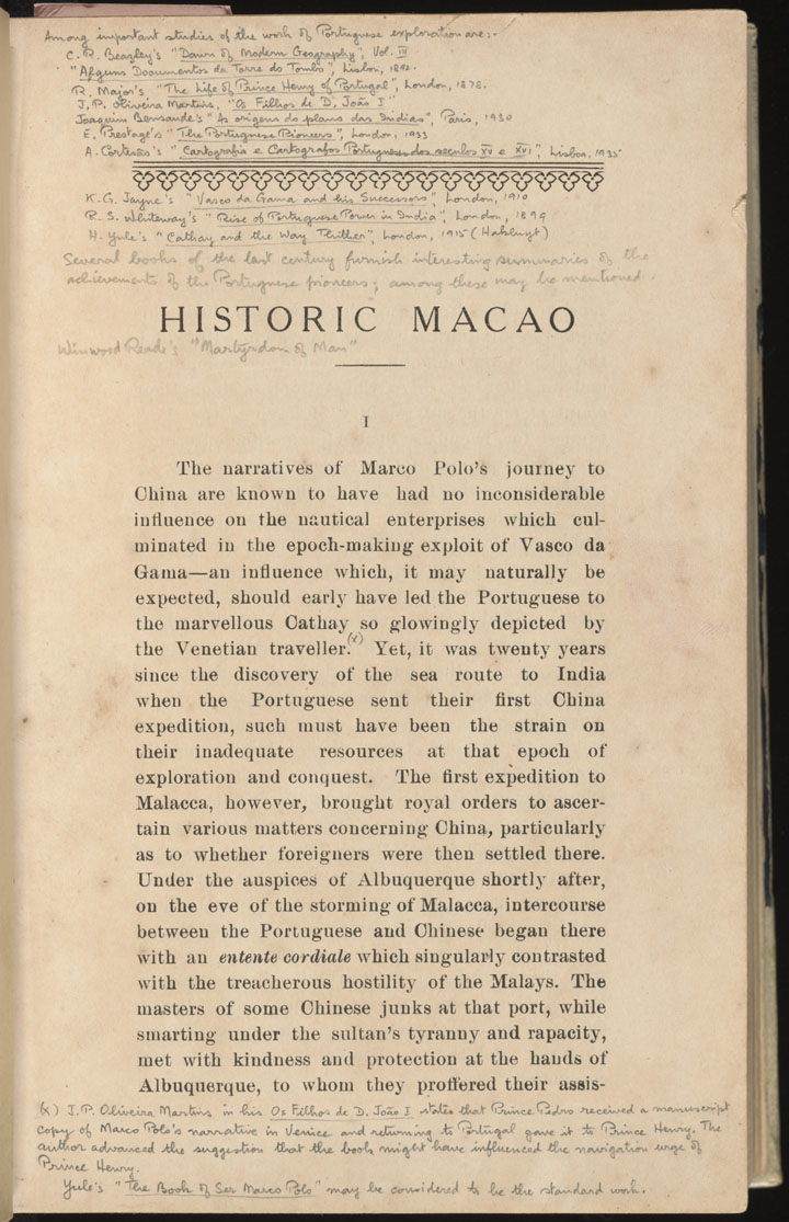 Historic Macao [with annotations by Braga]