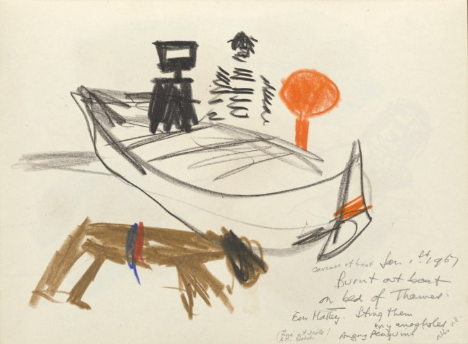 Sidney Nolan, Burnt out Boat on Bed of Thames, 1967, colour and lead pencil on paper, 28 x 21.5 cm