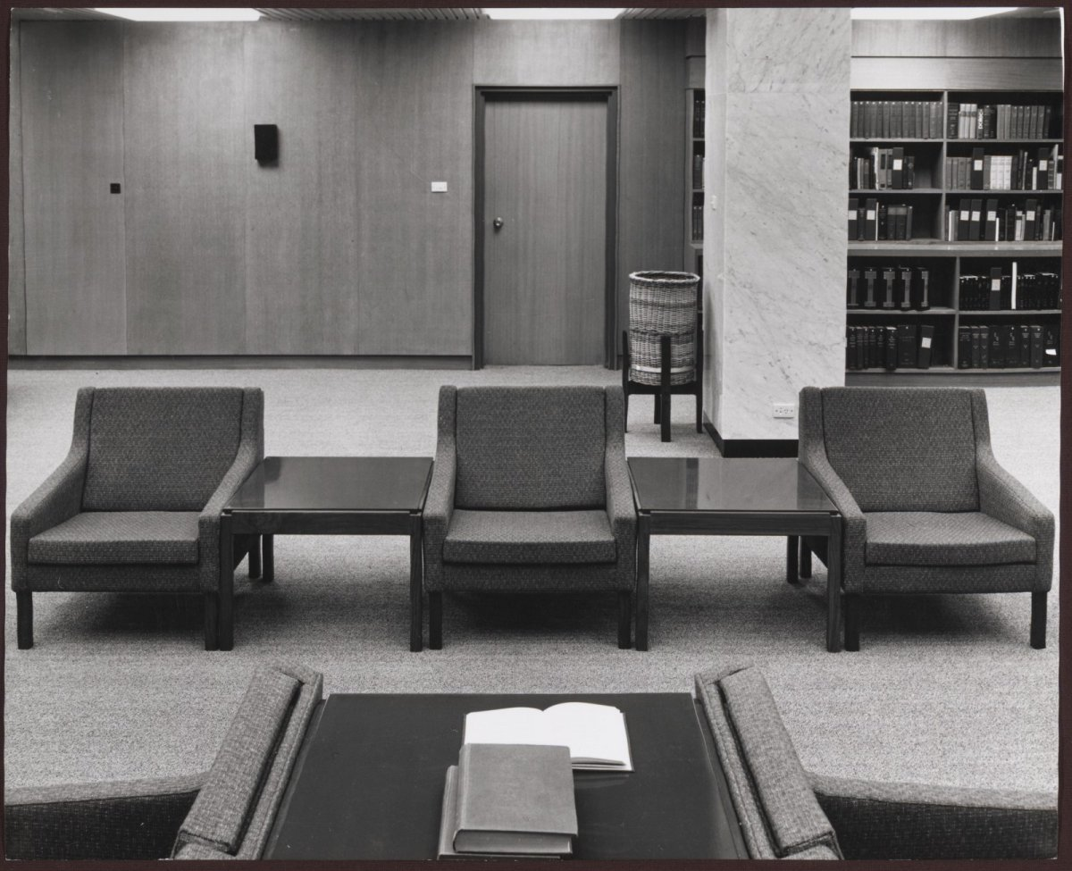 nla.pic-an24999279-v, Main Reading Room, National Library of Australia, Canberra, 1968/Max Dupain