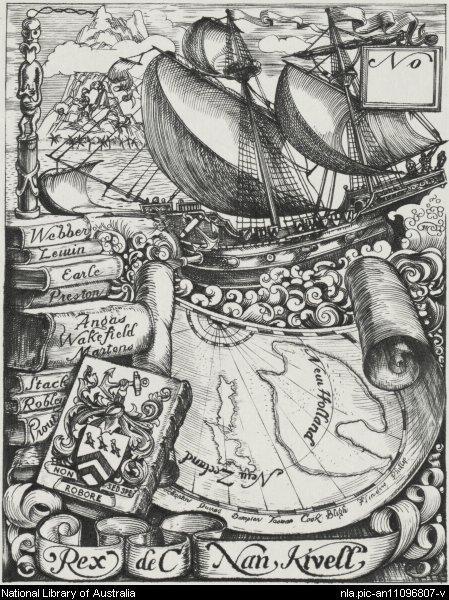 Rex Nan Kivell's bookplate