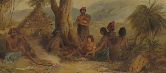 Calvert, Samuel, 1828-1913. Aboriginal encampment in South Australia.