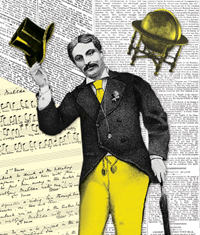 newspapers and sheet music overlayed with a man tipping his hat