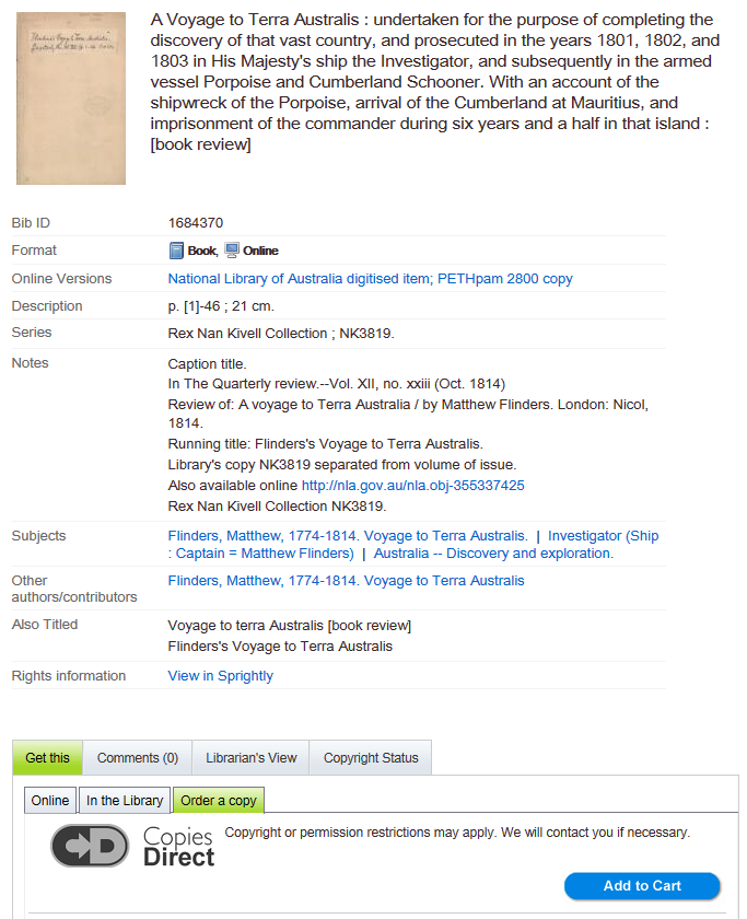Screenshot of National Library catalogue