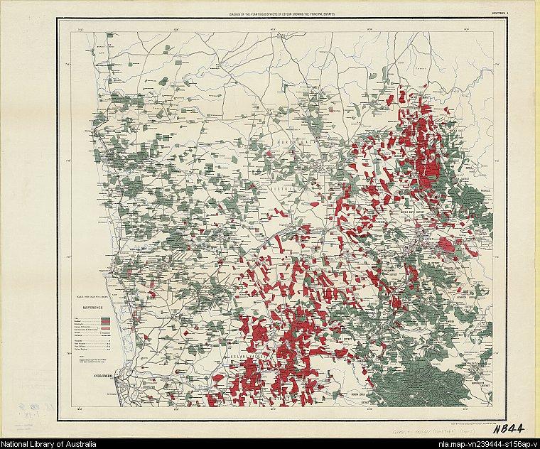 Sri Lanka plantation map